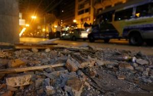 Guayaquil, sábado 17 de abril del 2016 (Andes).-Varios edificios de la zona centro de Guayaquil se vieron afectados por el terremoto que sacudio al pais. Foto: Andes/César Muñoz
