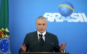 Brasília - O presidente interino Michel Temer durante pronunciamento à imprensa (Wilson Dias/Agência Brasil)