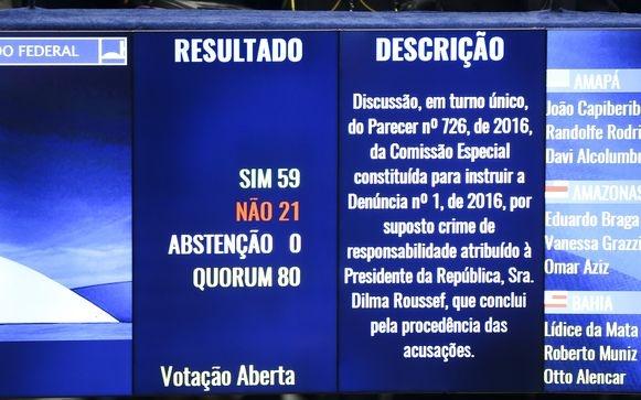 Brasília - Senadores aprovam, por 59 votos a 21, o texto principal do relatório da Comissão do Impeachment que recomenda que a presidente afastada Dilma seja levada a julgamento pela Casa (Marcelo Camargo/Agência Brasil)