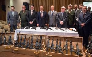 O Governador Geraldo Alckmin, participa da entrega de armas custodiadas pelo Judiciário às Polícias Civil e Militar do Estado de São Paulo. DATA 22/05/2017. LOCAL: São Paulo/SP. FOTO: Diogo Moreira